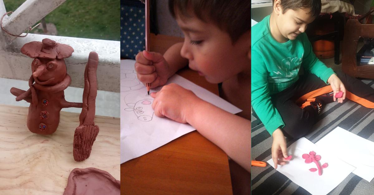 Niños y niñas haciendo manualidades